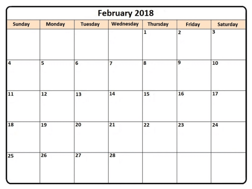 Calendar February 2018 Free Images, Word Download - Free HD Images