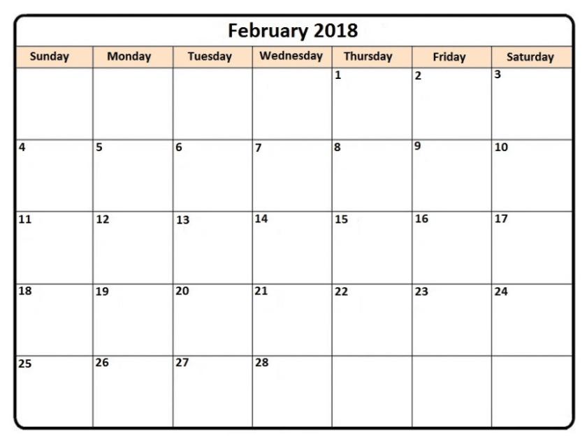 Calendar February 2018 template download