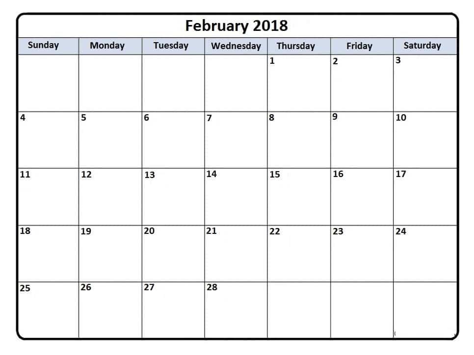 Calendar February 2018 word