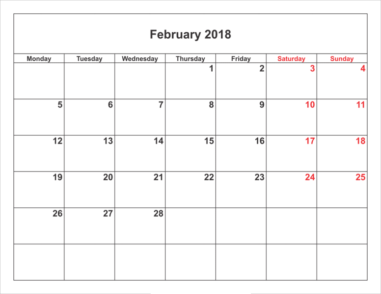 Calendar February 2018 free download