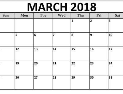 Calendar Printable March 2018