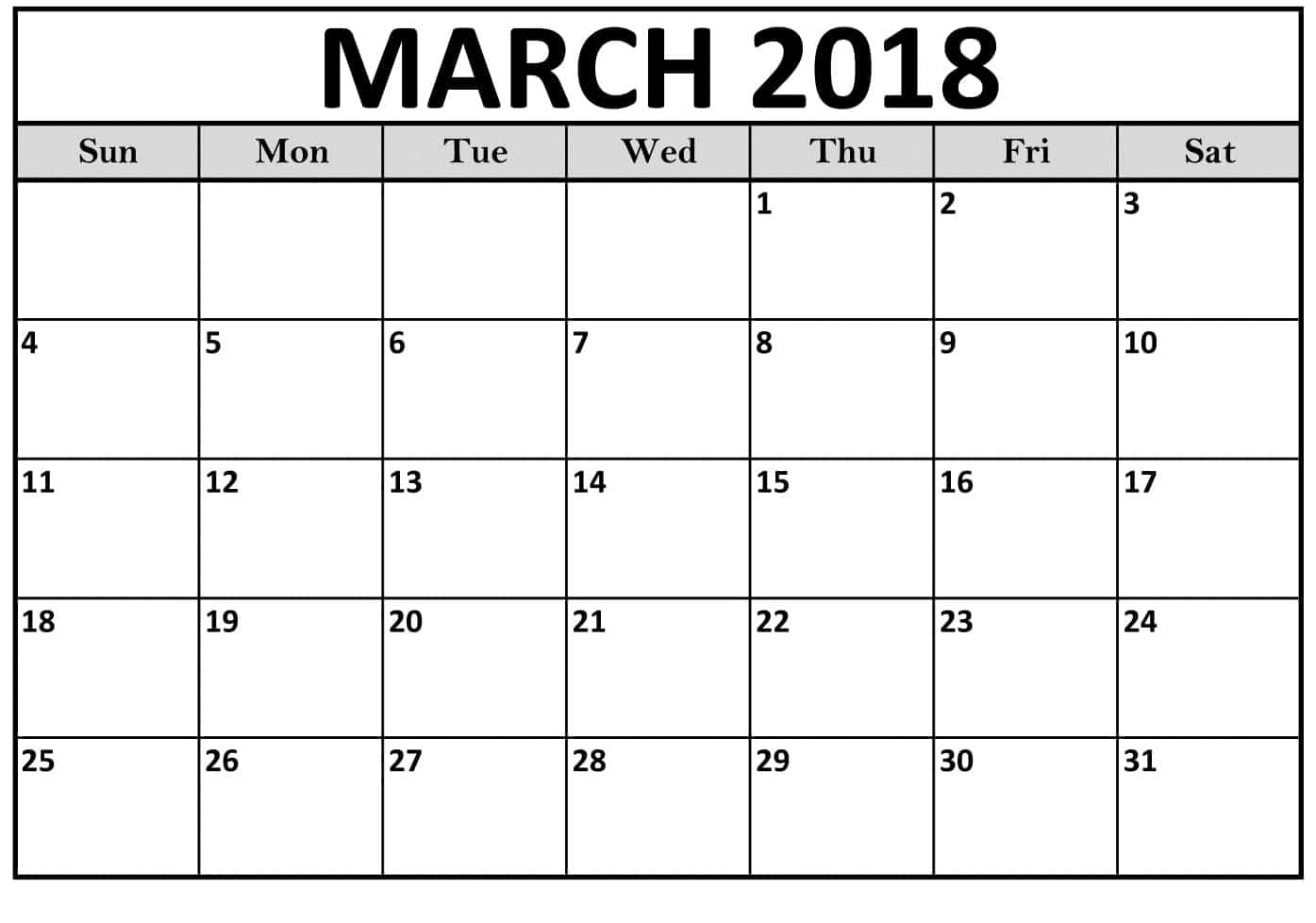 Calendar March 2018 : Calendar march printable pdf word free download