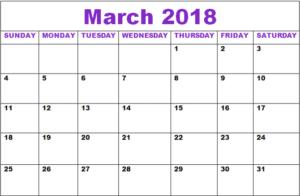 Cute March 2018 Calendar
