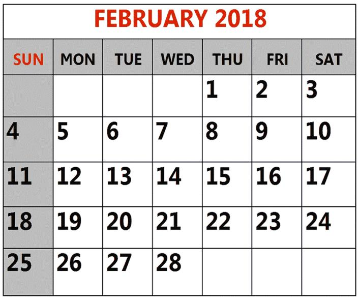 February 2018 Blank Calendar