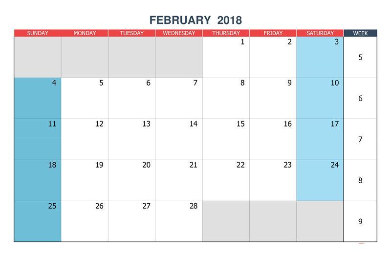 February 2018 Calendar Monthly