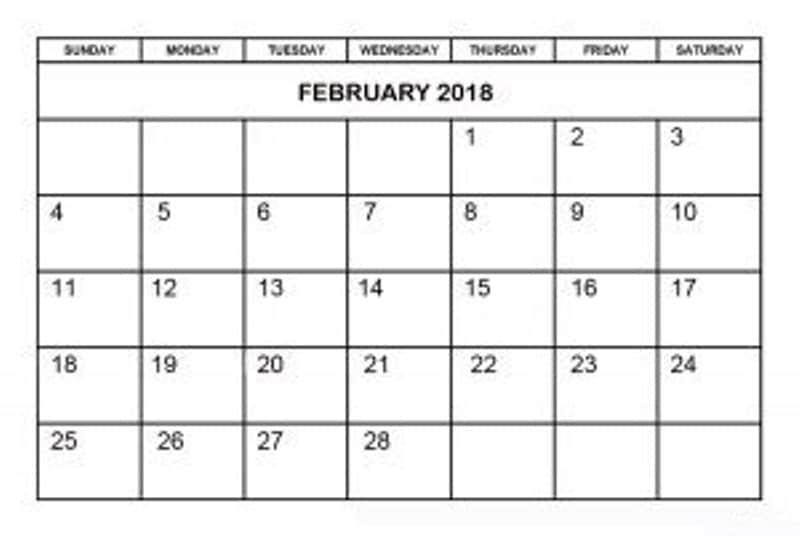 February 2018 Calendar Printable Template