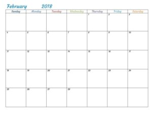February 2018 Monthly Printable Calendar