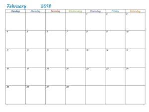 February 2018 Monthly Printable Calendar