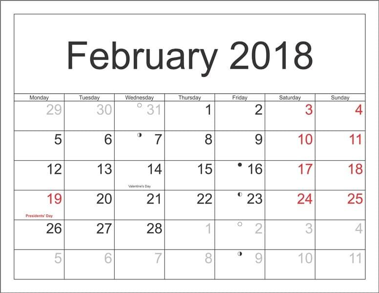 February 2018 Moon Calendar