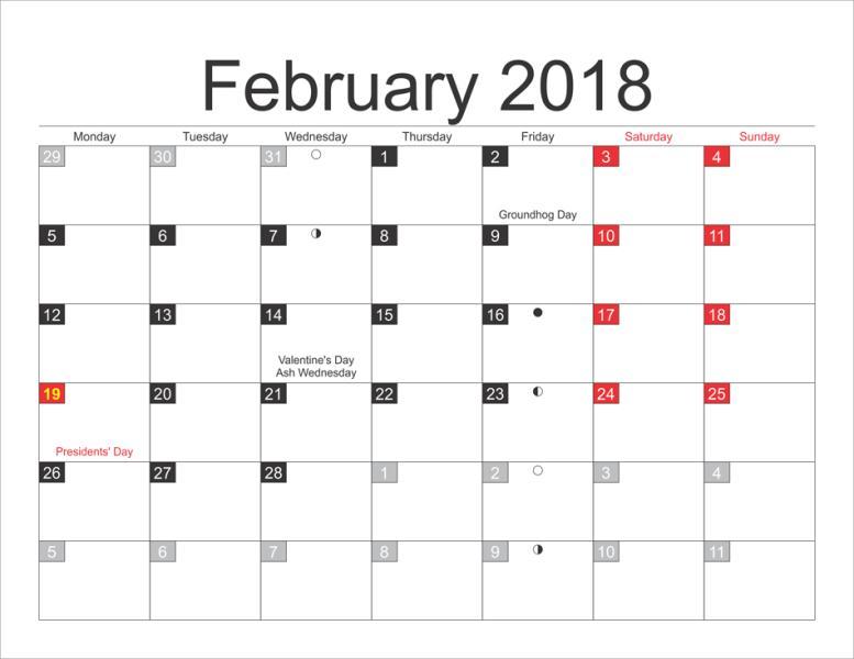 February 2018 Moon Phases Calendar