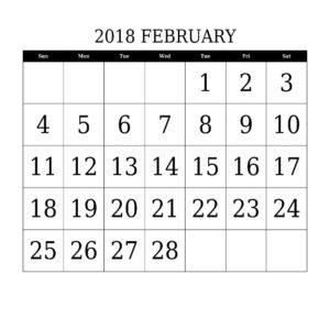 February 2018 Printable Calendar