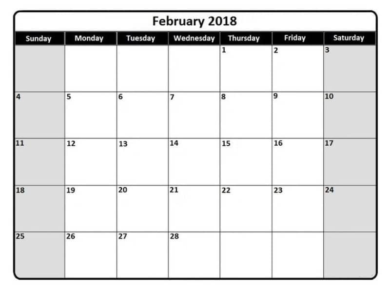February Calendar 2018 Printable