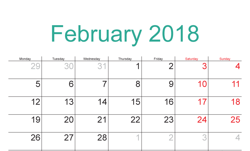 February Calendar 2018 free images