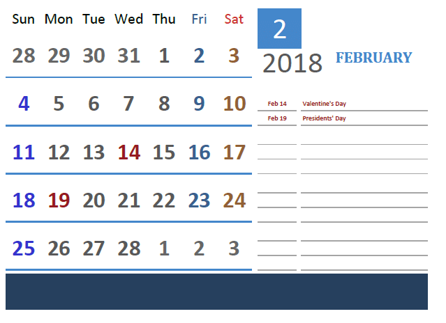 February Calendar 2018 download for free