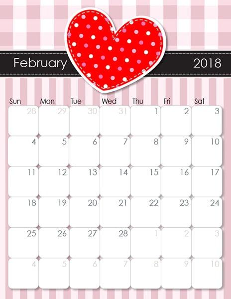 February Calendar 2018 templates
