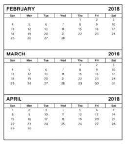 February March 2018 Calendar Template