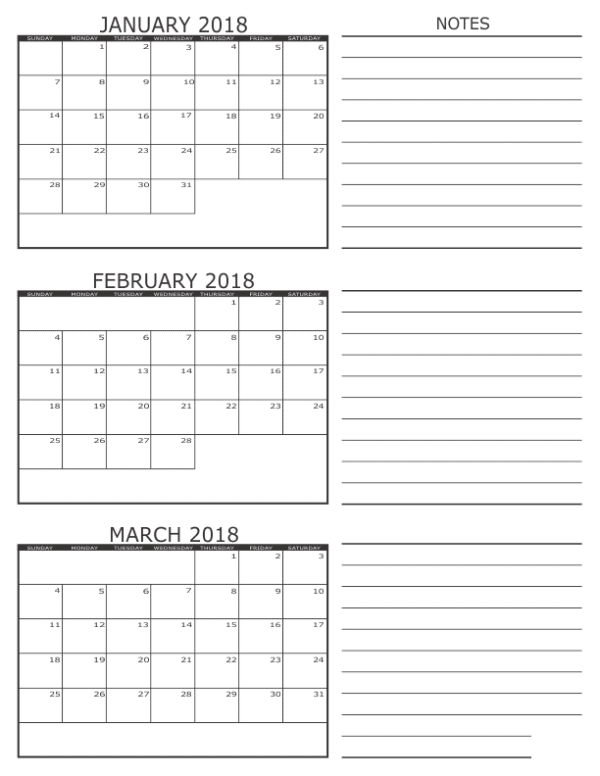 February March 2018 Calendar