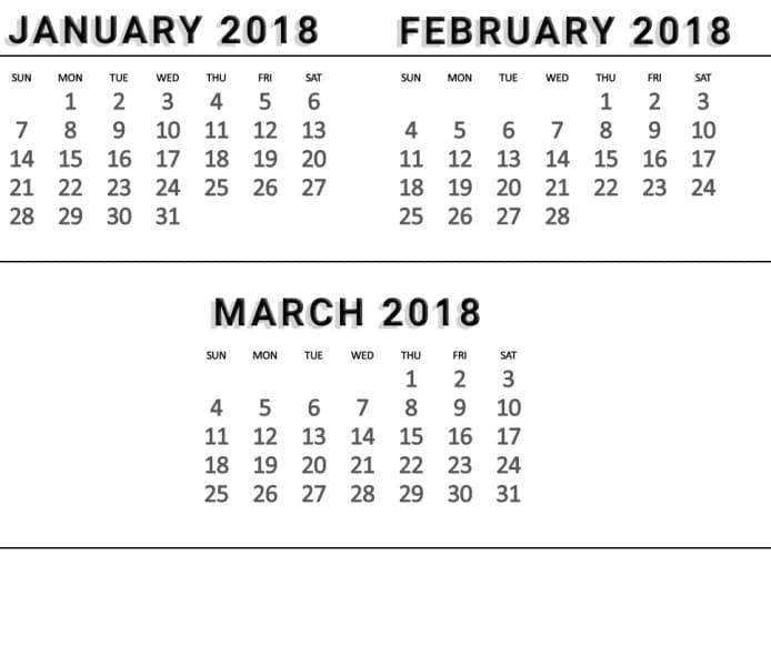 February March Calendar 2018