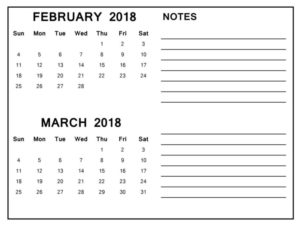 February March Printable 2018 Calendar