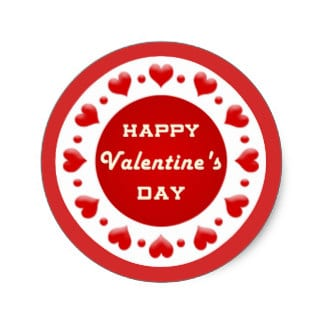 Happy Valentine's Day Red Heart Stickers