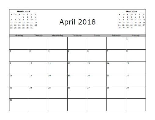 March 2018 April Calendar