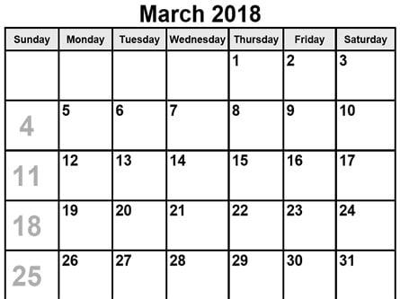 March 2018 Blank Calendar