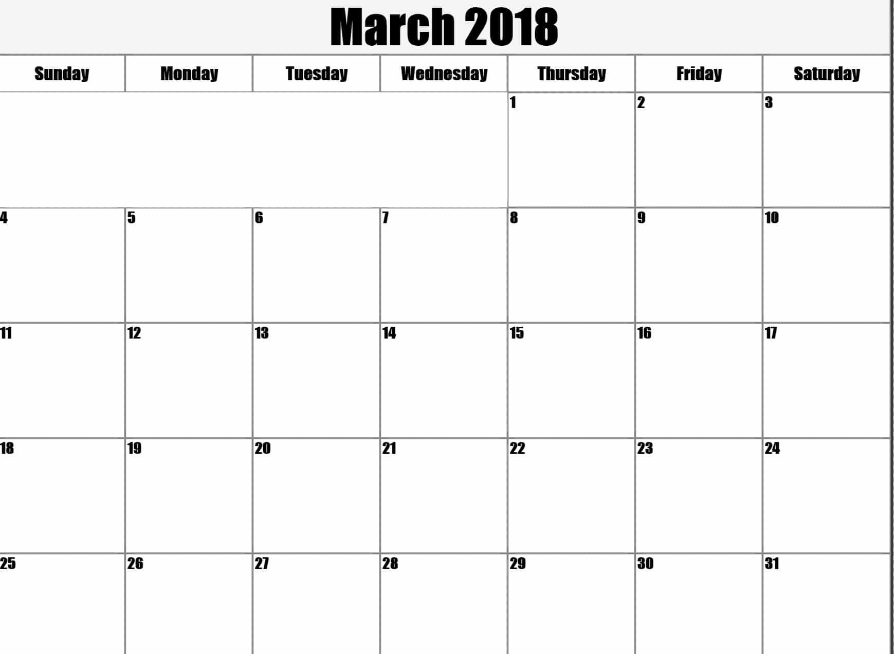 March 2018 Calendar Blank Printable