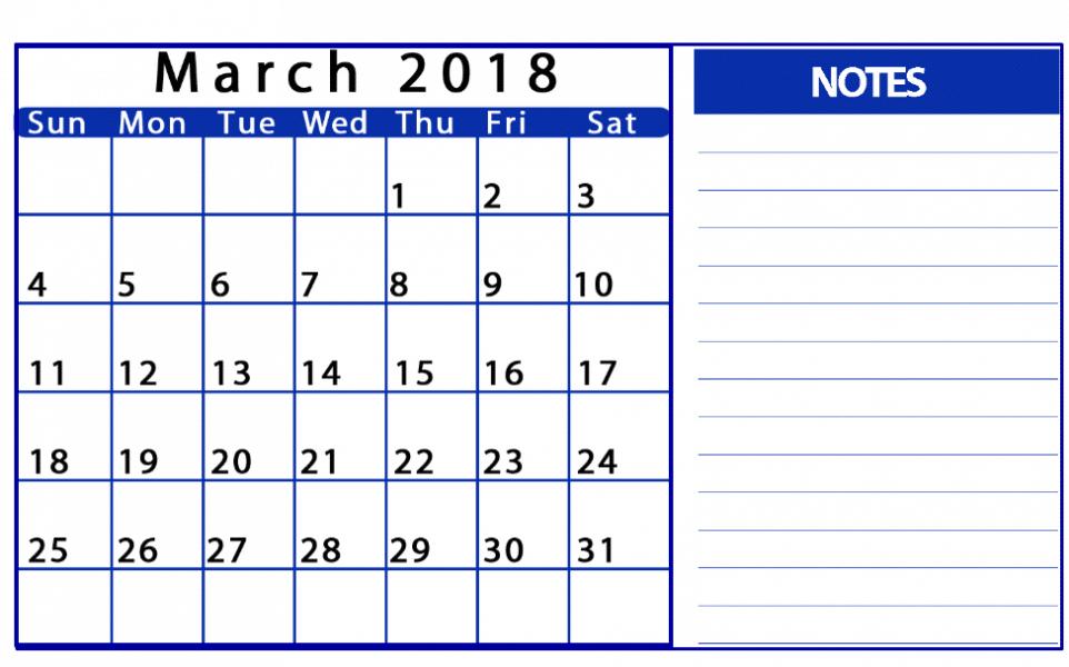 March 2018 Calendar Excel