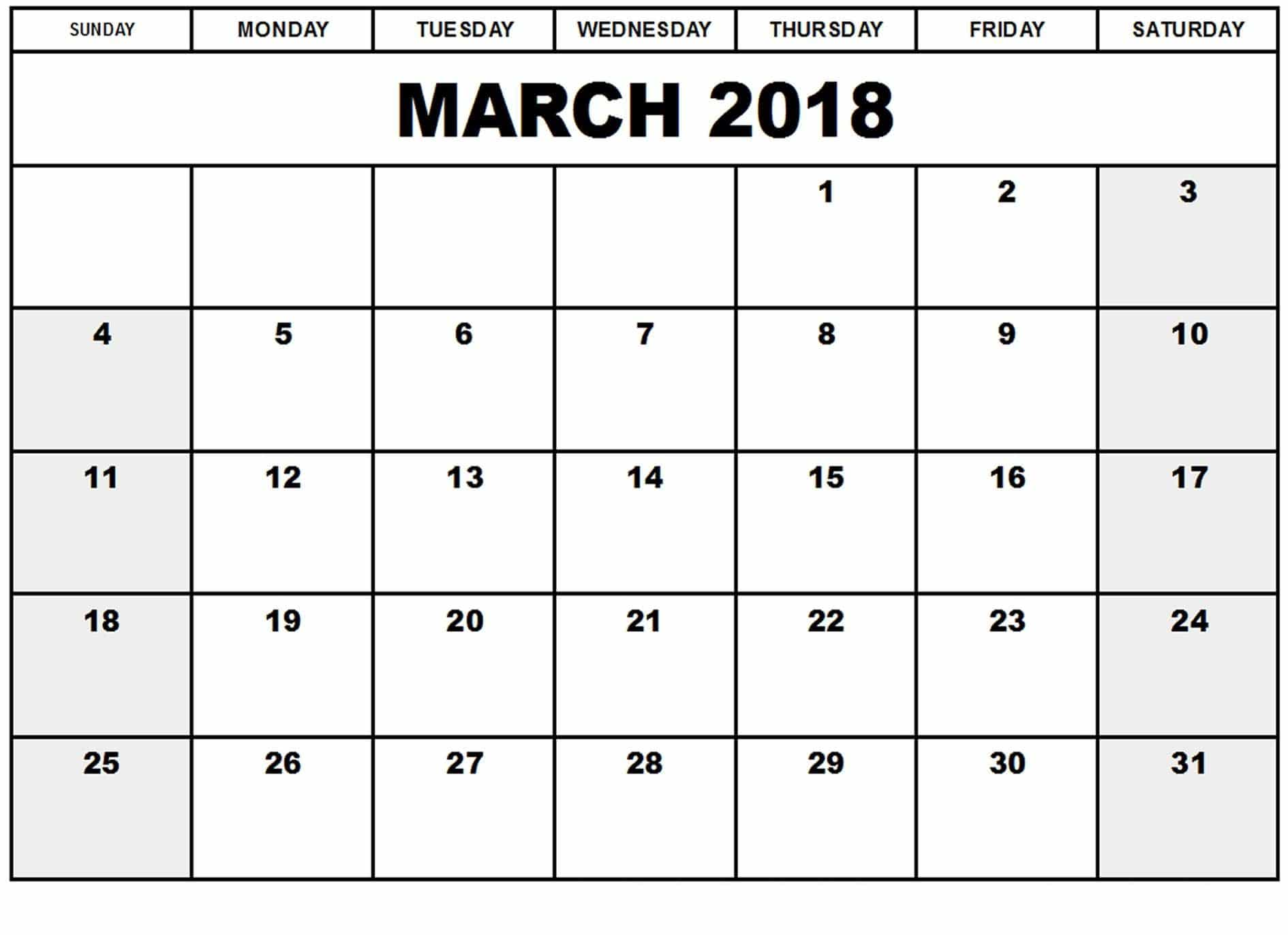 March 2018 Calendar India