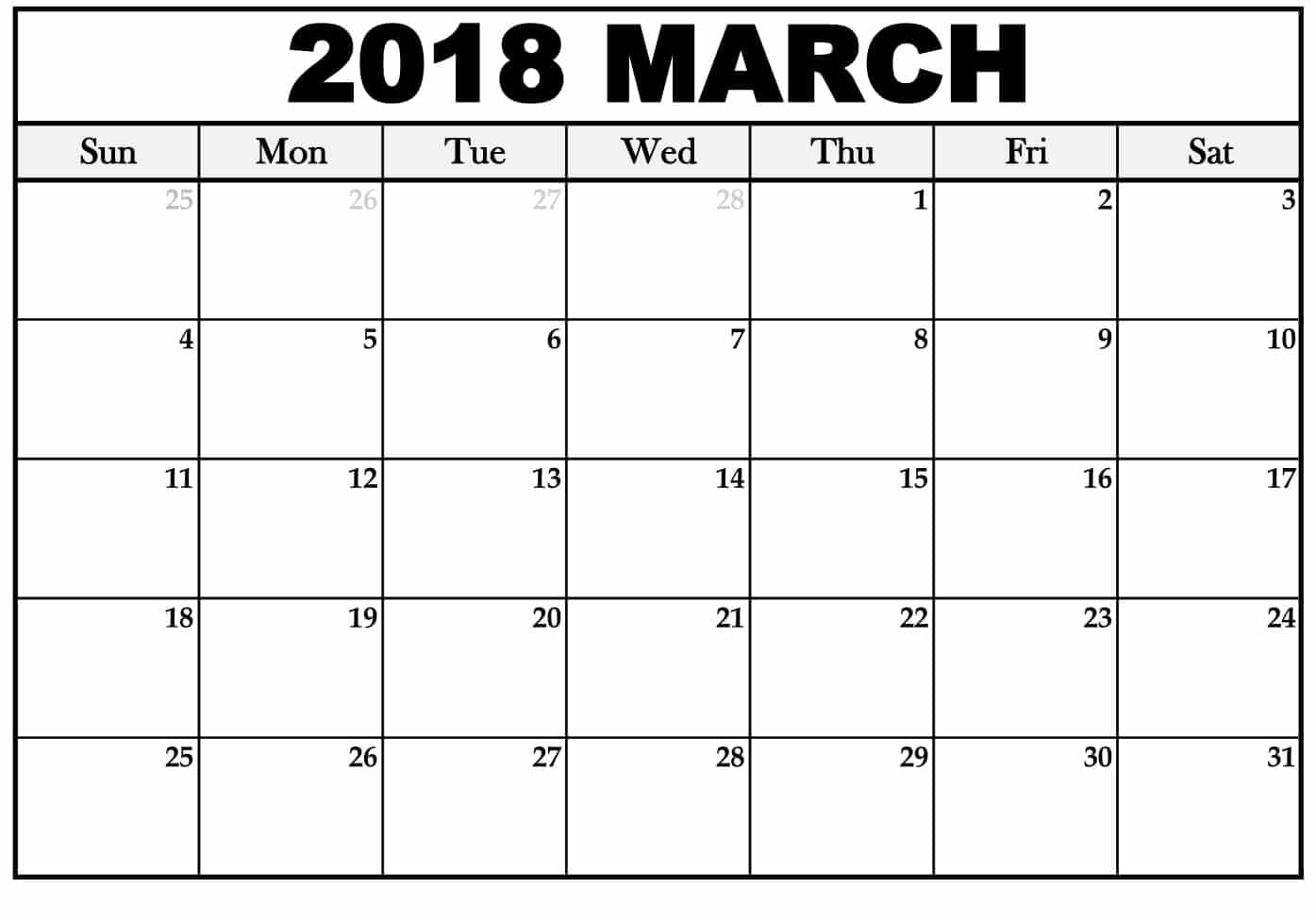 March 2018 Calendar Monthly Printable