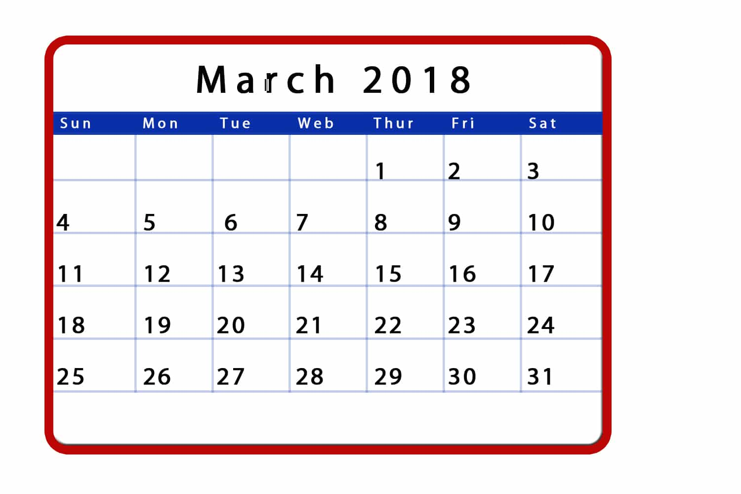 March 2018 Calendar Monthly