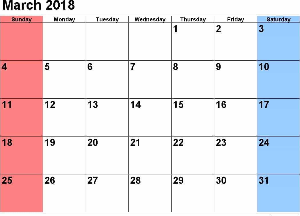 March 2018 Calendars For Word, Excel & Pdf pertaining to Printable Calendar March 2018 With Holidays