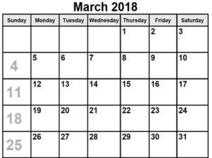 March 2018 Calendar Printable Pdf