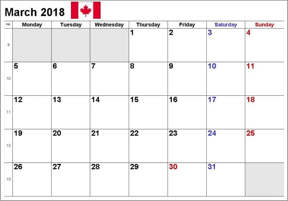March 2018 Calendar Printable Template