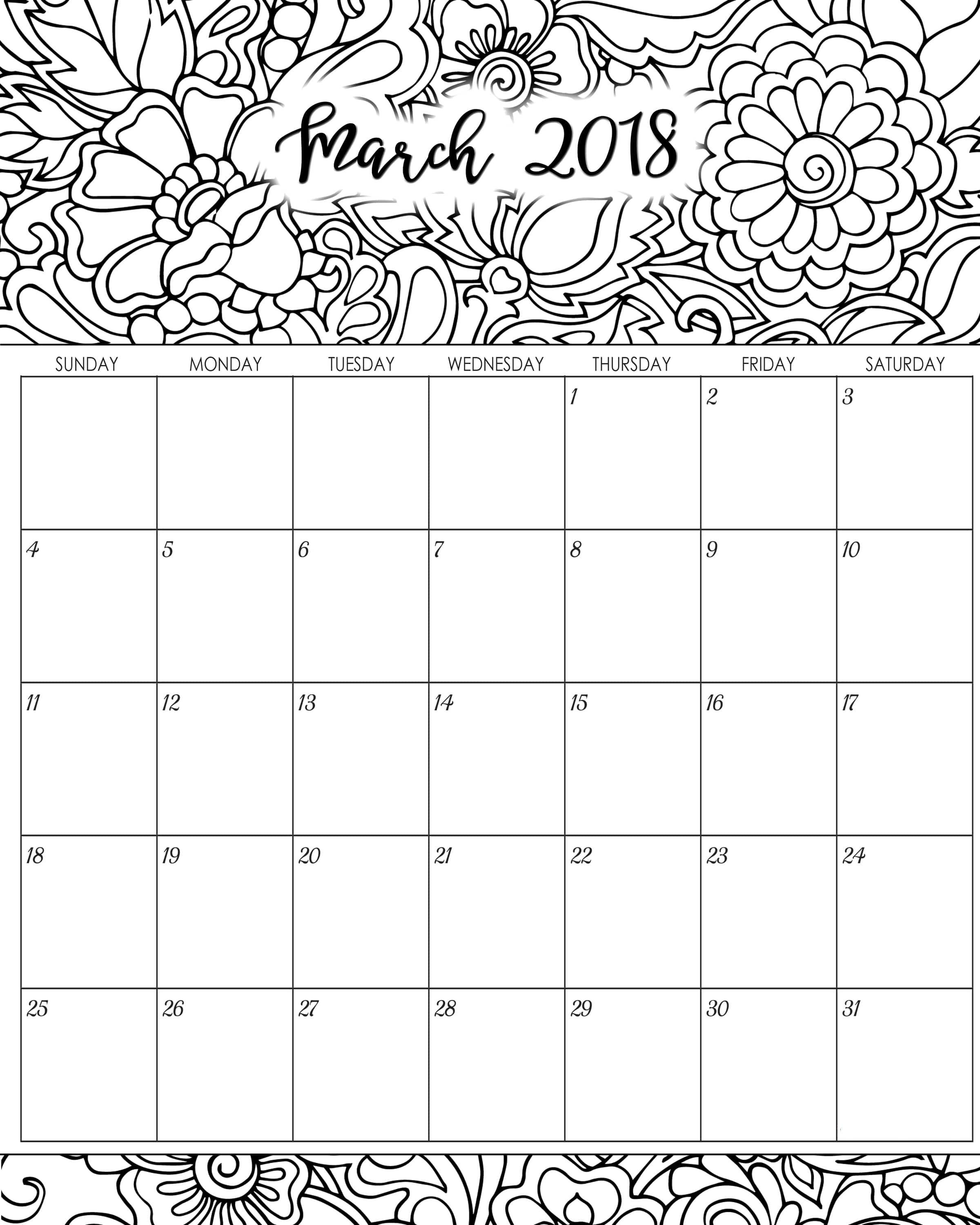 March Coloring Pages Pdf : Calendar march printable pdf word free download