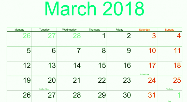 March 2018 Calendar Printable UK