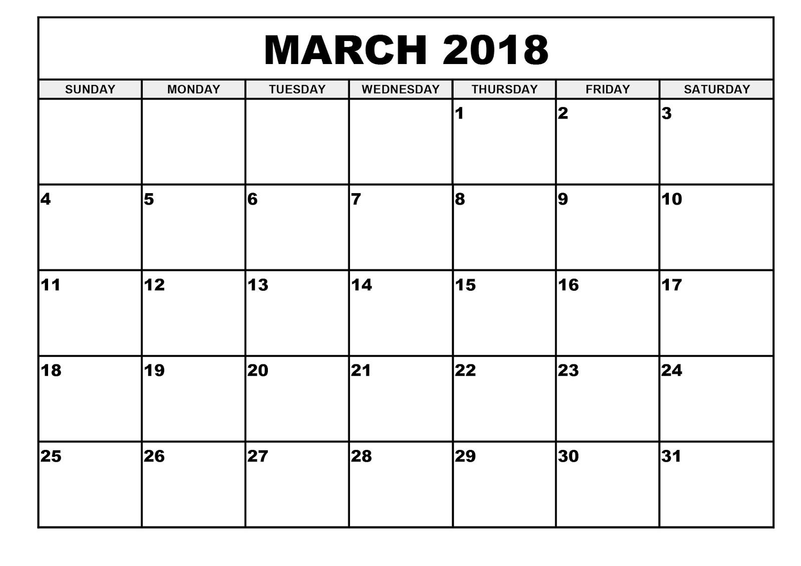 March 2018 Calendar Template