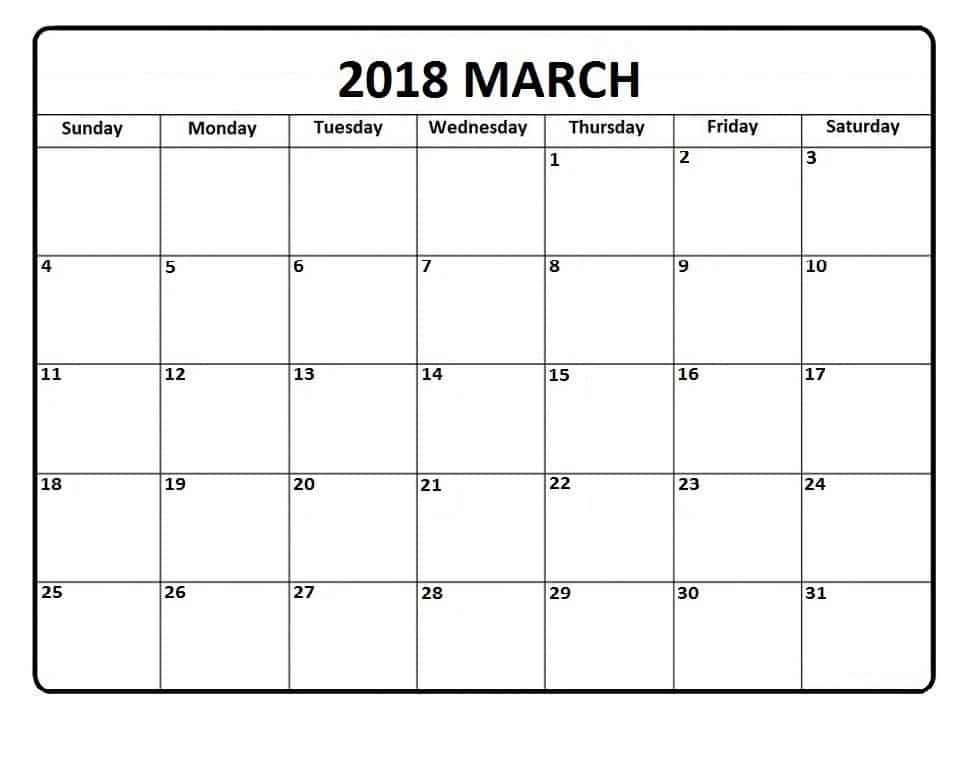 March 2018 Calendar USA