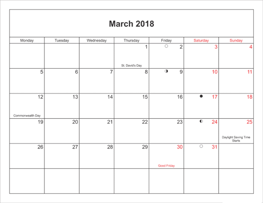 March 2018 Calendar With Holidays Canada