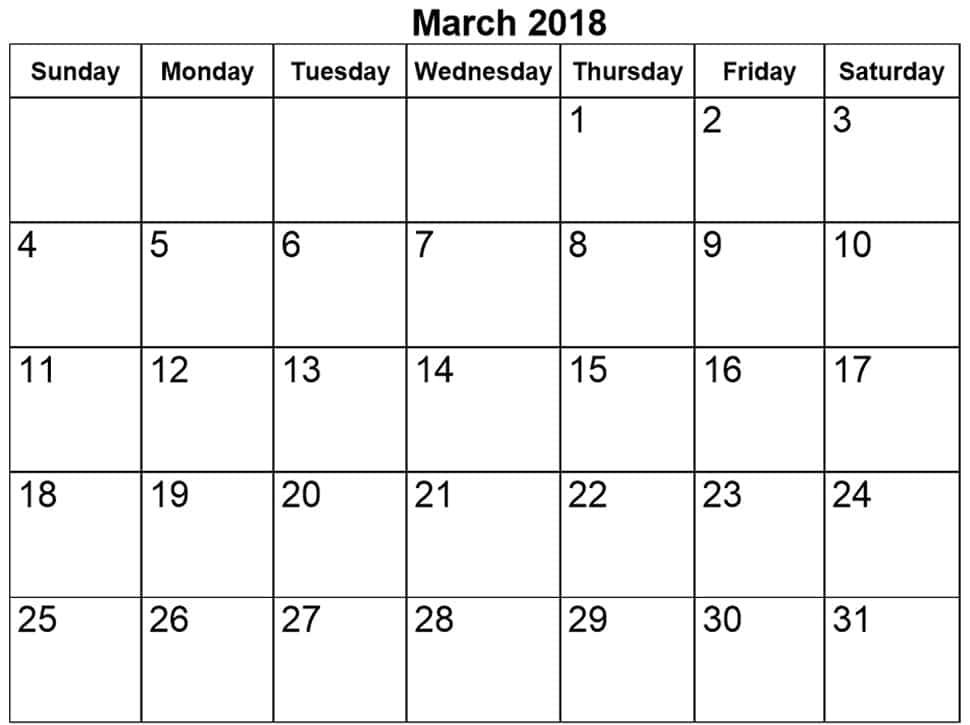 March 2018 Calendar Word