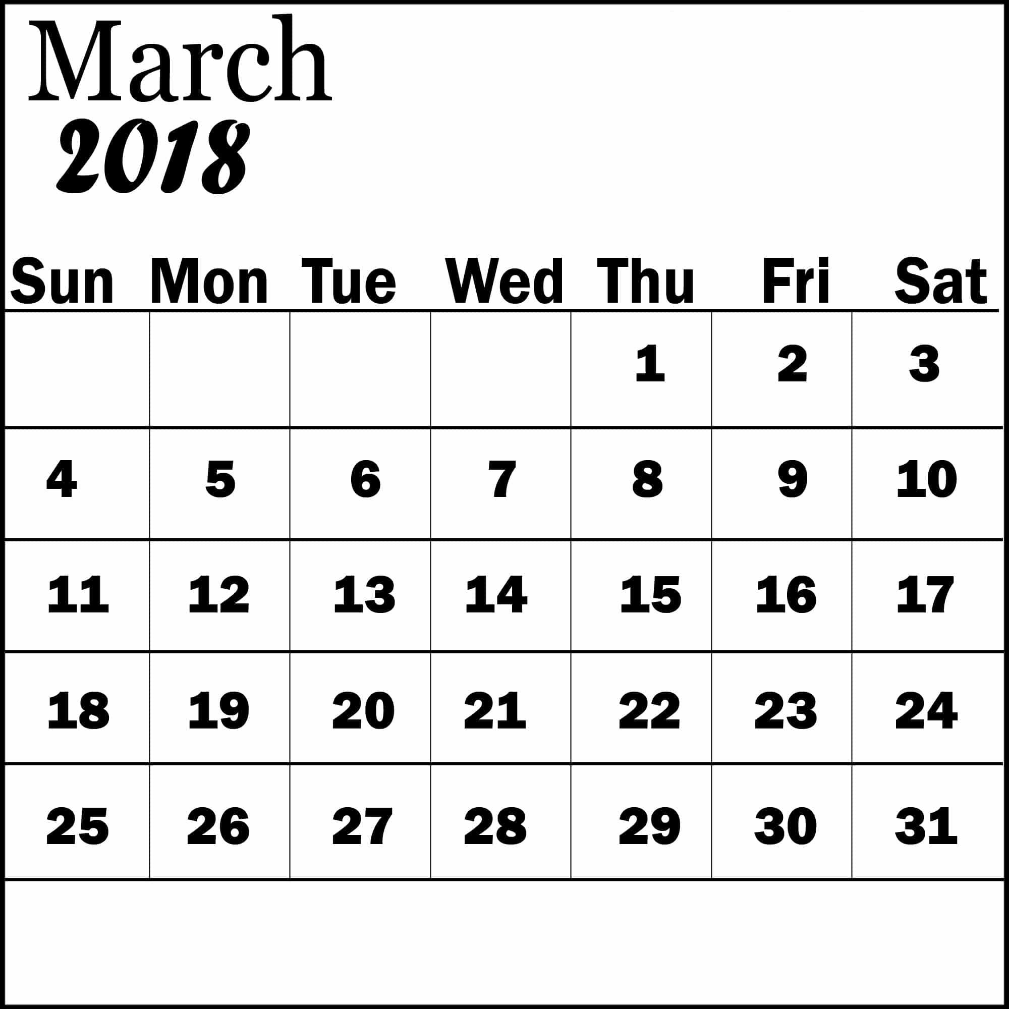 March 2018 Cute Calendar Printable