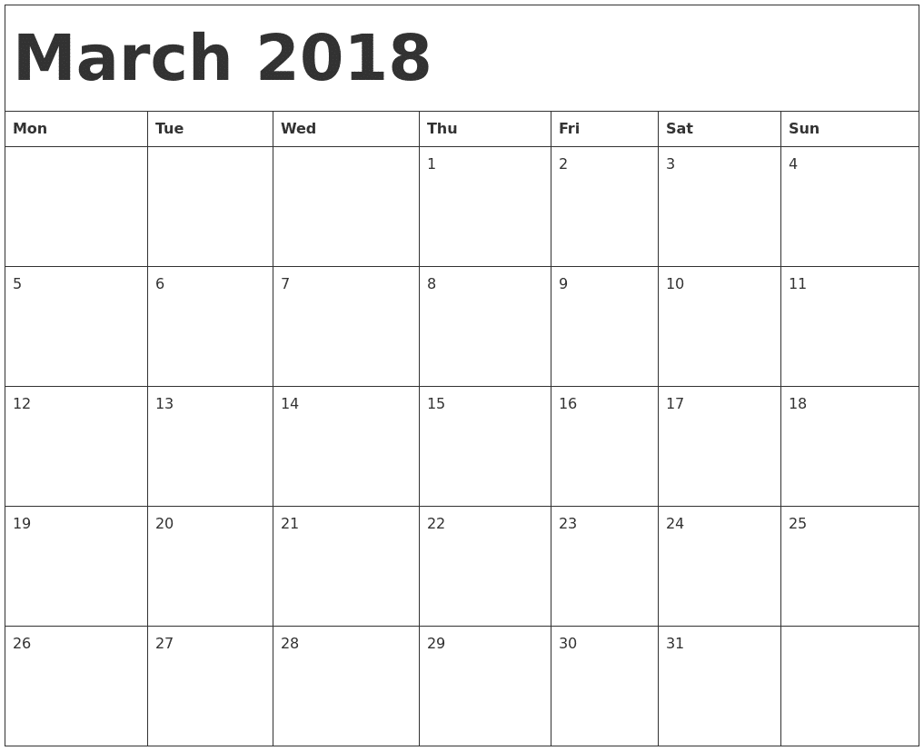 march 2018 monthly calendar printable