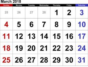 March 2018 Printable Calendar Template