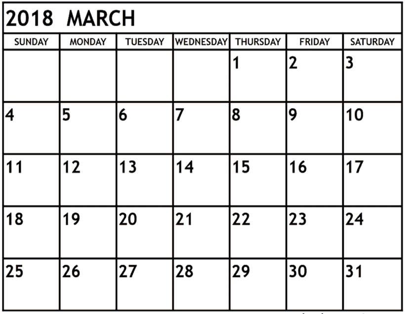 March 2018 Printable Calendar USA