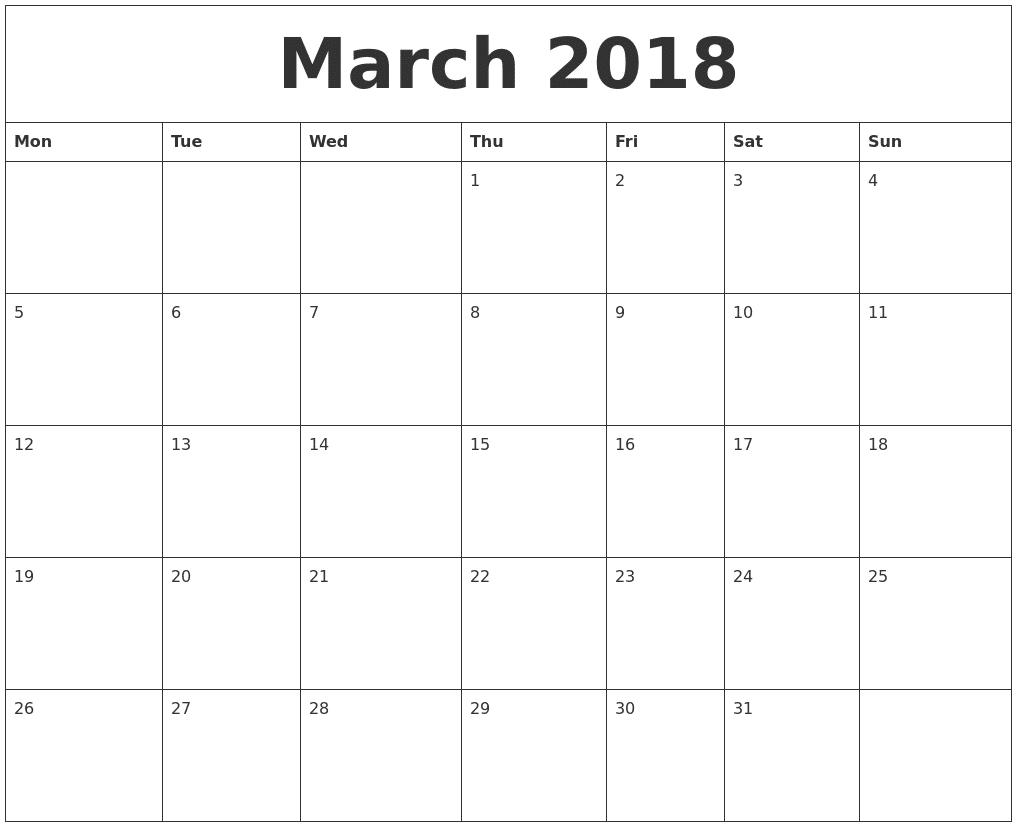 March 2018 Word Calendar