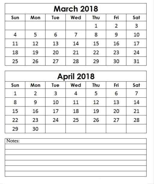 March April 2018 Calendar Template