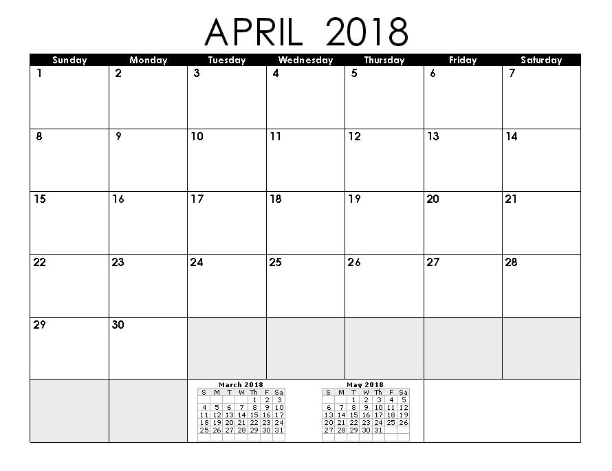 March April 2018 Calendar