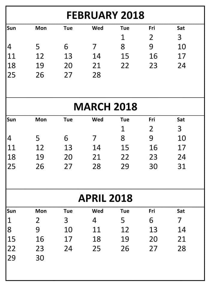 March April 2018 Printable Calendar