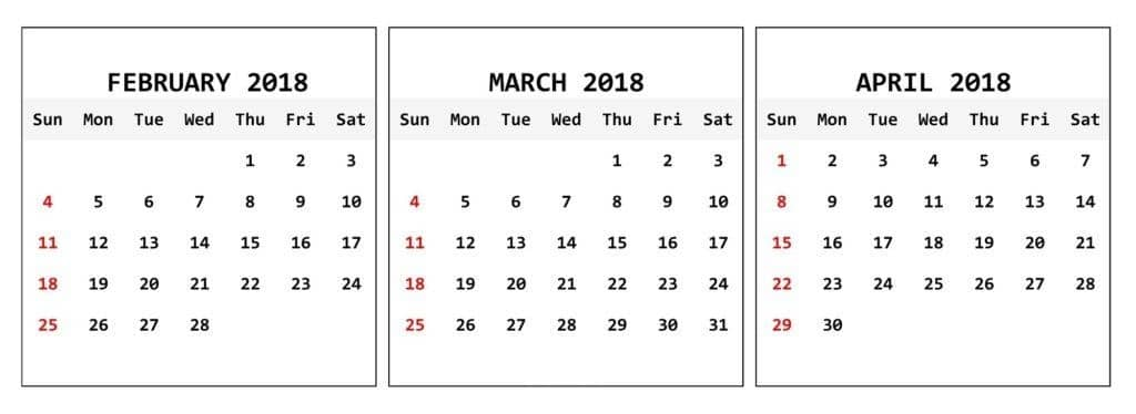 March April Calendar 2018 Printable Pdf