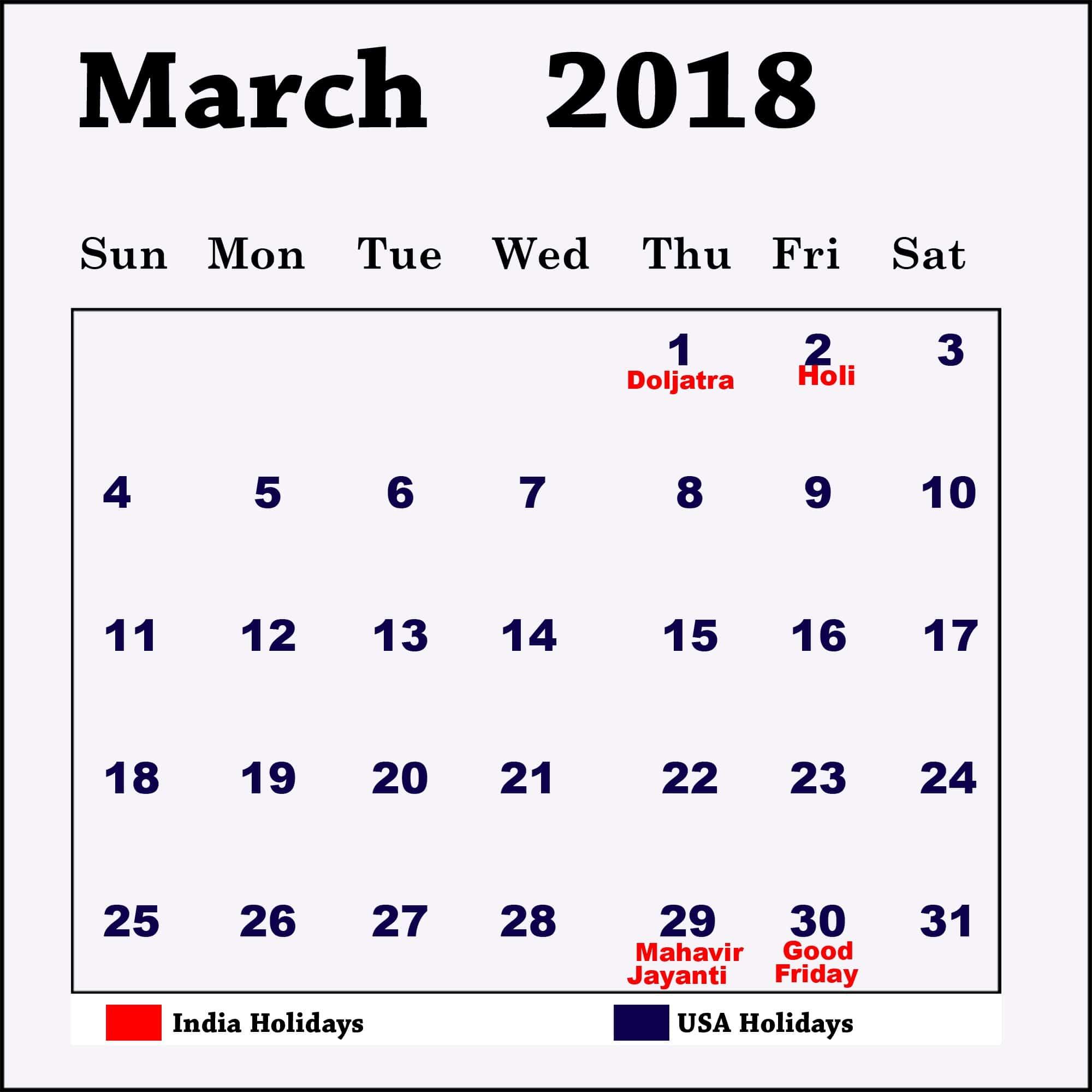March Calendar 2018 Printable